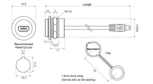USB 2.0 Stecker Mini-B Chassisbuchse, Einbau 1310-1026-04 M30 encitech Inhalt: 1 St.