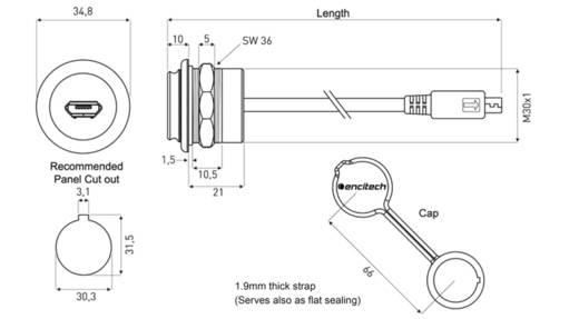 USB 2.0 Buchse Micro-B Chassisbuchse, Einbau 1310-1027-05 M30 encitech Inhalt: 1 St.