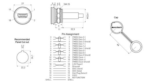 HDMI-Adapter Adapter, Einbau Polzahl: 19 Schwarz encitech 1 St.
