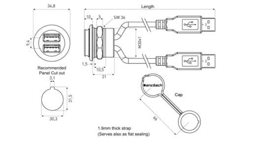 2 x USB 2.0 Buchse A Chassisbuchse, Einbau 1310-1035-04 M30 encitech Inhalt: 1 St.