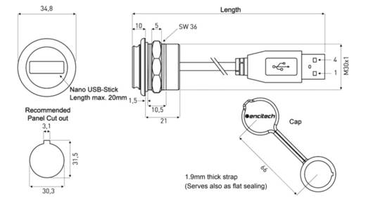 Chassisbuchse, Einbau 1310-1037-03 M30 encitech Inhalt: 1 St.