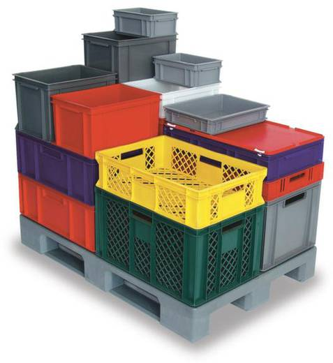 Stapelbehälter lebensmittelgeeignet (L x B x H) 400 x 300 x 120 mm Grau Basic 1658754 1 St.