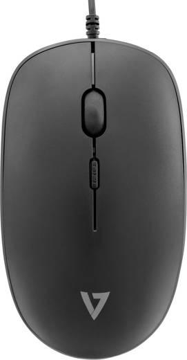 V7 Videoseven CKU200ES USB-Tastatur, Maus-Set Spritzwassergeschützt Schwarz