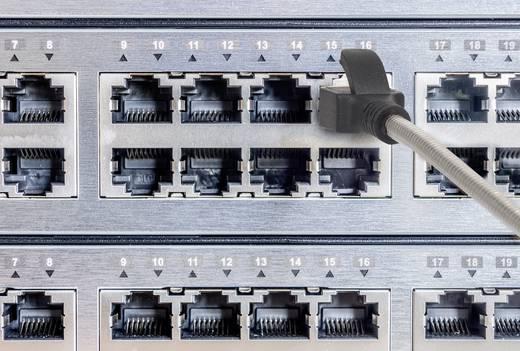 RJ45 Netzwerk Anschlusskabel CAT 6a F/FTP 0.5 m Silber-Schwarz Kabelmantel aus rostfreiem Stahl, mit Rastnasenschutz, ve