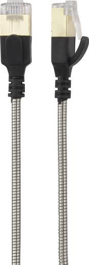 Renkforce RJ45 Netzwerk Anschlusskabel CAT 6a F/UTP 0.5 m Silber-Schwarz Kabelmantel aus rostfreiem Stahl, mit Rastnasen