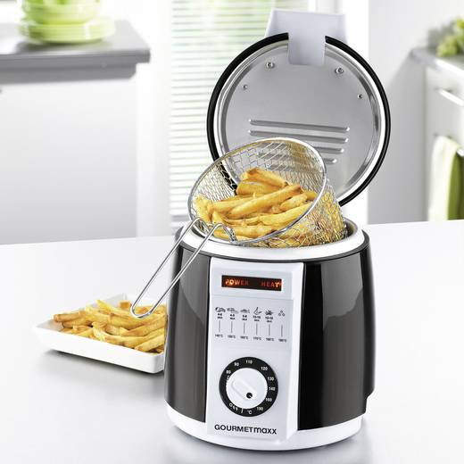 Fritteuse 840 W mit Display, Multifunktion GourmetMaxx Schwarz