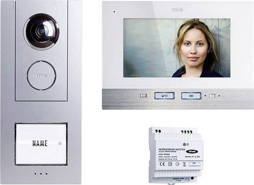 m-e modern-electronics 41134 Video-Türsprechanlage Kabelgebunden Komplett-Set 1 Familienhaus Silber