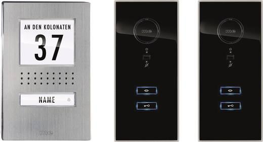 m-e modern-electronics 41140 Türsprechanlage Kabelgebunden Komplett-Set 1 Familienhaus Edelstahl, Schwarz