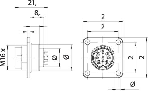 Binder 09 0173 370 08 Miniatur-Rundsteckverbinder Flanschstecker Gesamtpolzahl: 7 1 St.