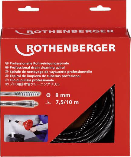 Rothenberger Rohrreinigungsspirale 8 mm x 7,5m mit Keulenkopf Abmessungen (Ø x L) 8 mm x 7.5 m 72412