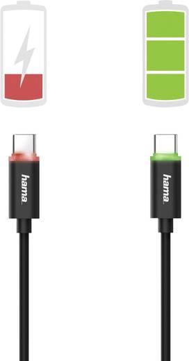 Hama USB 2.0 Kabel [1x USB 2.0 Stecker A - 1x USB 2.0 Stecker C] 1 m Schwarz mit LED