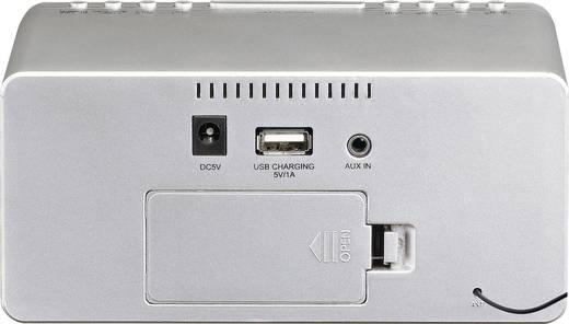 UKW Radiowecker Lenco CR-520 AUX, UKW, USB Akku-Ladefunktion Silber