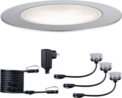 Beleuchtungssystem Plug&Shine LED-Außeneinbauleuchten (Basis-Set) 1 W Neutral-Weiß Paulmann 93693 Silber 3er Set