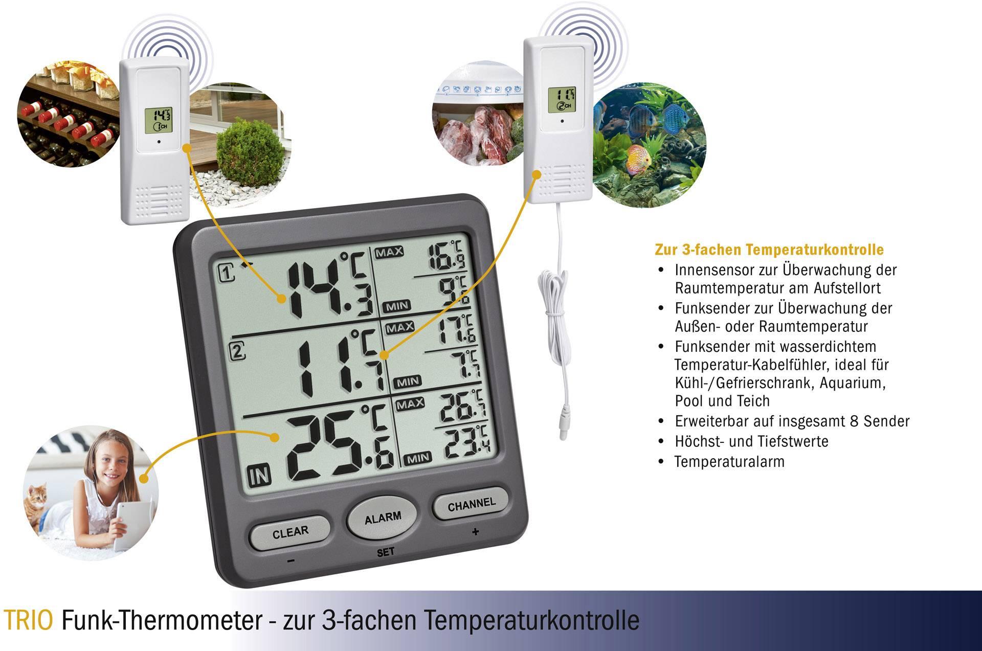 Kühlschrank Thermometer Funk : Tfa trio funk thermometer anthrazit kaufen