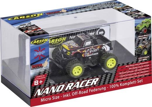 Carson RC Sport 500404184 Nano Racer Little Foot 1:60 RC Modellauto Elektro Monstertruck Heckantrieb inkl. Batterien
