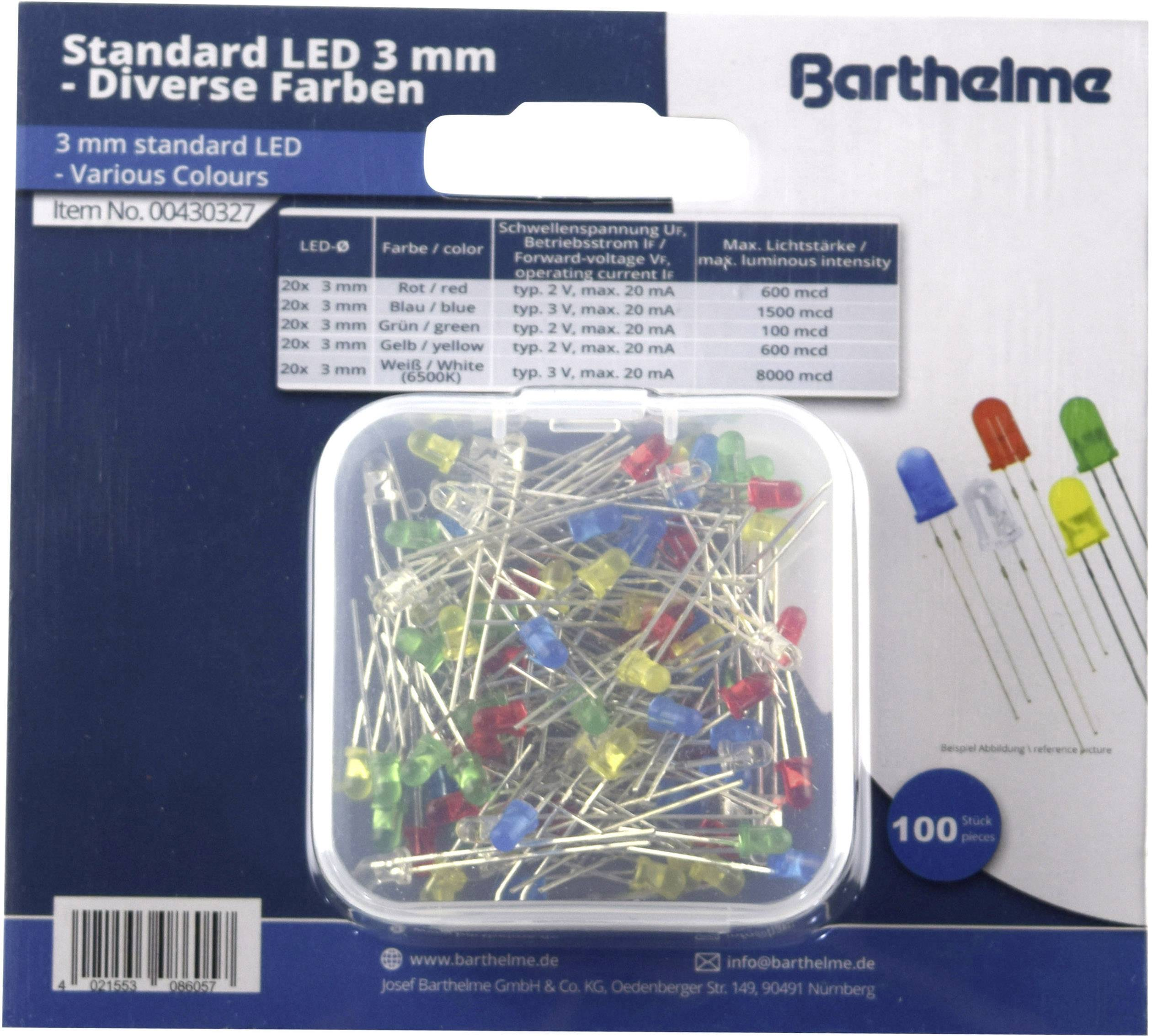 LED Sortiment: 100 x 3mm // 100 x 5mm rot blau und klar !!! gelb grün