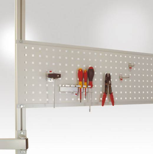 Manuflex LZ8272.7035 Werkzeughalterplatte 350x1246 mm für Canto-Tisch 1250mm RAL7035 lichtgrau leitfähig (B x H) 740 mm