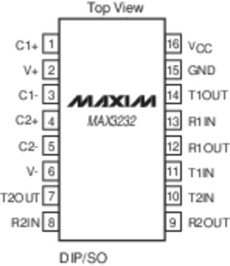 Maxim Integrated MAX3232CPE+ Schnittstellen-IC - Transceiver RS232 2/2 PDIP-16