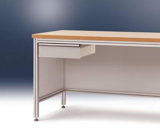 Manuflex ZB4183.9006 Einzelschubfach f.ALU Tisch 800tief ohne Schloss ähnlich RAL9006 alusilber