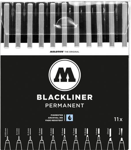 MOLOTOW™ Blackliner Complete Set, Spitzen von 0.05 mm bis 1 mm, Schwarz, 200485, 11 St./Pack