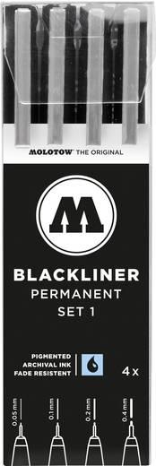 MOLOTOW™ Blackliner Set 1, Spitzen von 0.05 mm bis 0.4 mm, Schwarz, 200486, 4 St./Pack