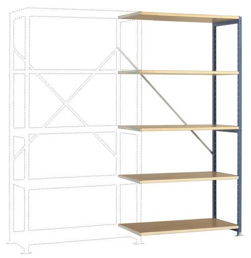 Fachbodenregal-Anbaumodul (B x H x T) 970 x 2000 x 400 mm Stahl pulverbeschichtet Brillant-Blau Holzboden Manuflex RP110