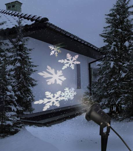 LED-Projektor Schneeflocken Weiß LED Polarlite LP-100 Schwarz matt