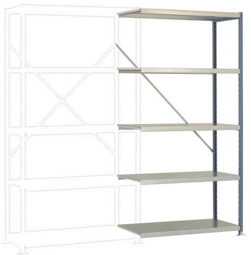 Fachbodenregal-Anbaumodul (B x H x T) 970 x 2000 x 600 mm Stahl pulverbeschichtet Licht-Grau Metallboden Manuflex RP1124.7035