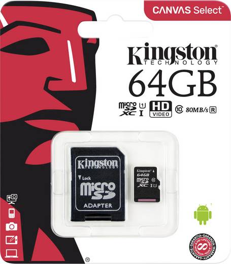 microSDXC-Karte 64 GB Kingston SDC10G2 Class 10 UHS-I inkl. SD-Adapter, Wasserdicht