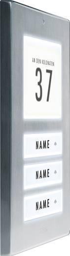 m-e modern-electronics 41067 Klingelplatte beleuchtet, mit Adressfeld, mit Namensschild 3 Familienhaus Edelstahl 12 V/1