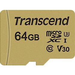 Pamäťová karta micro SDXC, 64 GB, Transcend Premium 500S, Class 10, UHS-I, UHS-Class 3, v30 Video Speed Class, vr. SD adaptéru