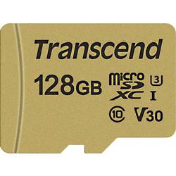 Pamäťová karta micro SDXC, 128 GB, Transcend Premium 500S, Class 10, UHS-I, UHS-Class 3, v30 Video Speed Class, vr. SD adaptéru