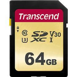 SDXC karta, 64 GB, Transcend Premium 500S, Class 10, UHS-I, UHS-Class 3, v30 Video Speed Class