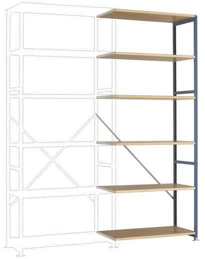 Fachbodenregal-Anbaumodul (B x H x T) 970 x 2500 x 500 mm Stahl pulverbeschichtet Grau-Grün Holzboden Manuflex RP1412.00