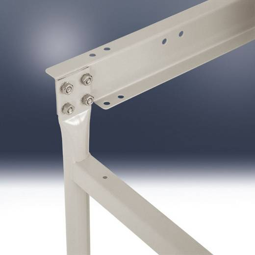 Manuflex BB3060.9006 Beistelltisch BASIS stationär 1500x800x758 mm, ohne Platte ähnl. RAL9006 alusilber