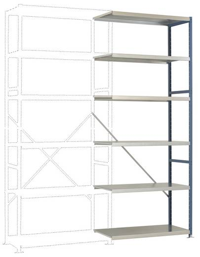 Fachbodenregal-Anbaumodul (B x H x T) 970 x 2500 x 500 mm Stahl pulverbeschichtet Alusilber Metallboden Manuflex RP1419.9006