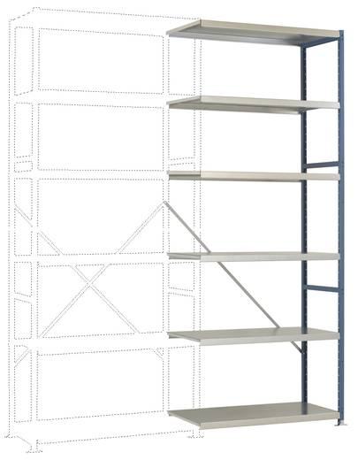 Fachbodenregal-Anbaumodul (B x H x T) 970 x 2500 x 600 mm Stahl pulverbeschichtet Grau-Grün Metallboden Manuflex RP1424.