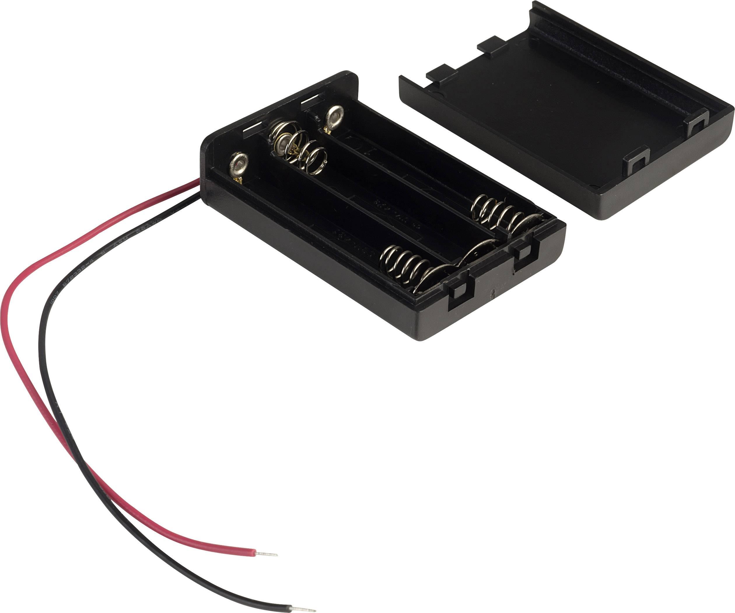 4x Micro Batterie Batteriefach /_ Batteriehalter mit Anschlusskabel 4x AAA