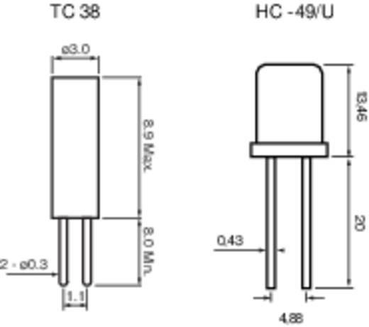 Quarzkristall 168467 HC-49/U 32.768 MHz 33 pF (Ø x H) 3 mm x 13.46 mm