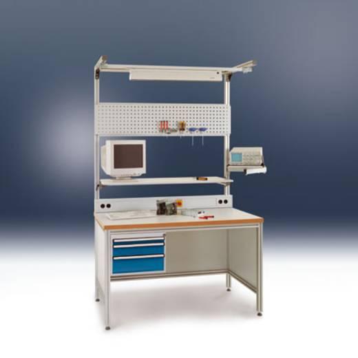 Manuflex ZB8235.9006 Schwenkarm Ablageboard 370x370mm mit Doppelgelenk für ALU Tisch ähnlich RAL9006 alusilber