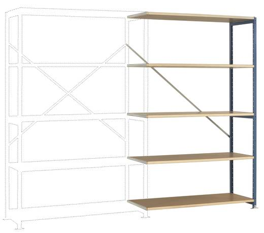 Fachbodenregal-Anbaumodul (B x H x T) 1220 x 2000 x 500 mm Stahl pulverbeschichtet Licht-Grau Holzboden Manuflex RP1127.7035