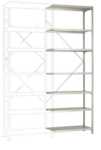 Fachbodenregal-Anbaumodul (B x H x T) 1220 x 3000 x 500 mm Stahl verzinkt Verzinkt Metallboden Manuflex RM2251