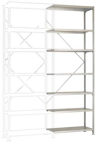 Fachbodenregal-Anbaumodul (B x H x T) 970 x 3000 x 600 mm Stahl verzinkt Verzinkt Metallboden Manuflex RM2252