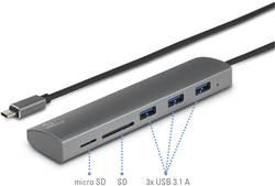 USB 3.1 hub Renkforce se zabudovanou čtečkou SD karet, s hliníkovým krytem, 36.5 mm, stříbrná