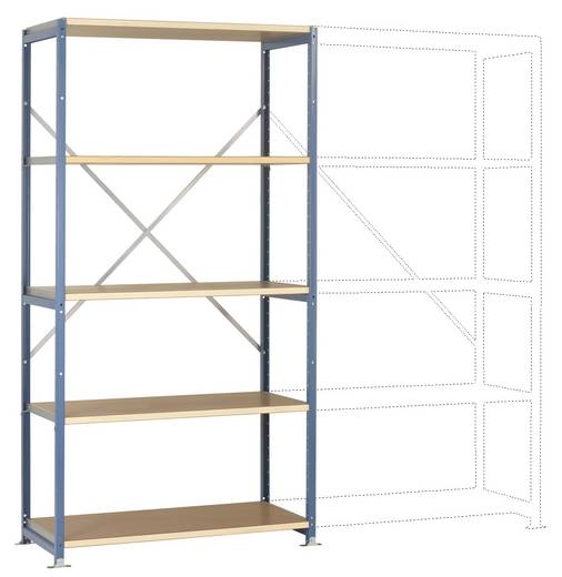 Fachbodenregal-Grundmodul (B x H x T) 970 x 2000 x 800 mm Stahl pulverbeschichtet Rot-Orange Metallboden Manuflex RP1025.2001