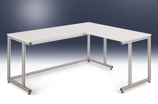 Manuflex AA0021 Verkettungselement Volleck ALU-Tisch Platte melamin 600 x 600 x 22mm für stehende Tätigkeit
