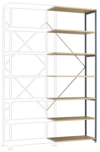 Fachbodenregal-Anbaumodul (B x H x T) 1470 x 3000 x 800 mm Stahl pulverbeschichtet Licht-Grau Holzboden Manuflex RP1725.7035