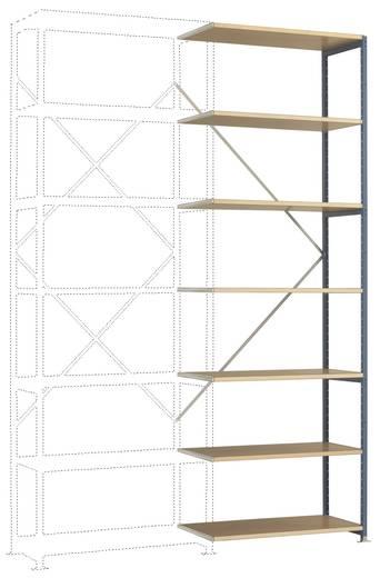 Fachbodenregal-Anbaumodul (B x H x T) 970 x 3000 x 600 mm Stahl pulverbeschichtet Grau-Grün Holzboden Manuflex RP1713.00