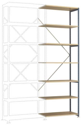 Fachbodenregal-Anbaumodul (B x H x T) 970 x 3000 x 800 mm Stahl pulverbeschichtet Grau-Grün Holzboden Manuflex RP1715.00