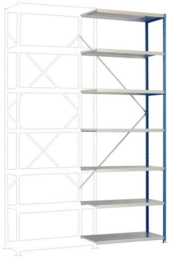 Fachbodenregal-Anbaumodul (B x H x T) 970 x 2500 x 400 mm Stahl pulverbeschichtet Grau-Grün Metallboden Manuflex RP1718.